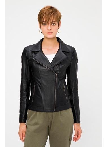 Deri Company Kadın Hakiki (Gerçek) Deri Mont Perla Siyah 211525 Siyah